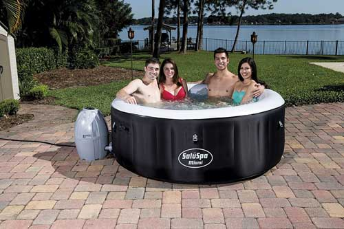 black pump up hot tub